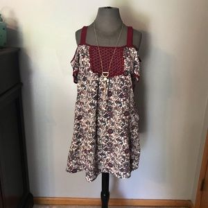Maroon floral off the shoulder dress small